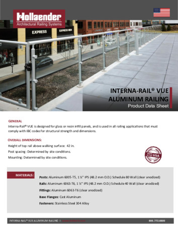 VUE™ Railing System Product Data