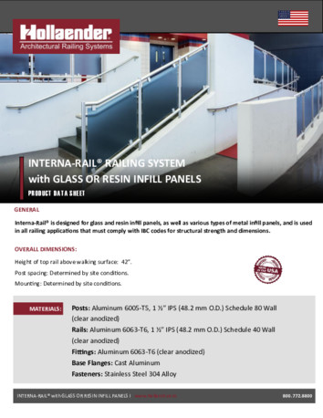 Interna-Rail® with Glass or Resin Infill Panels Product Data