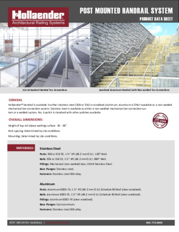 Post and Wall Mounted Handrail Product Data