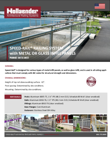 Speed‐Rail® Railing System with Metal or Glass Infill Panels Product Data
